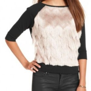 Rachel Roy Fringe Front 3/4 Sleeve Top
